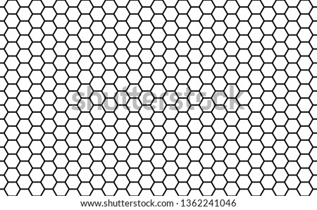 Black and white honey hexagonal cells seamless texture. Mosaic or speaker fabric shape pattern. Honeyed comb grid texture and geometric hive hexagonal honeycombs. Vector illustration