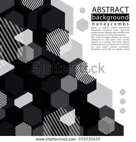 Black and white honeycomb abstract background with caption and text decorative geometric monochrome backdrop transparent vector background