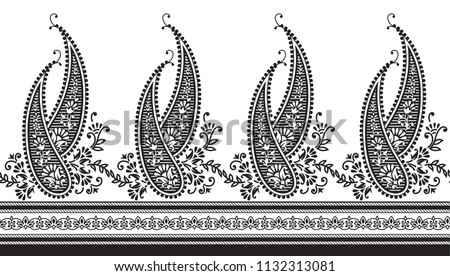 black and white horizontal paisley border