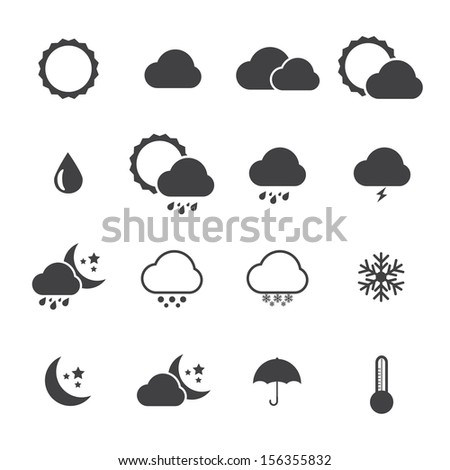 Black and White Icon set of weather.VECTOR eps 10