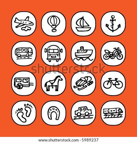 black and white icon set - transportation - others of same series : http://www.shutterstock.com/lightboxes.mhtml?lightbox_id=829090