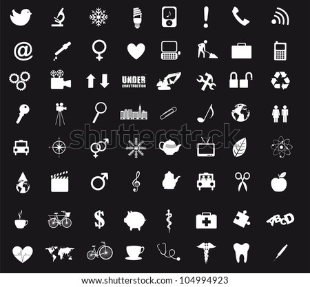black and white icons isolated. vector illustration
