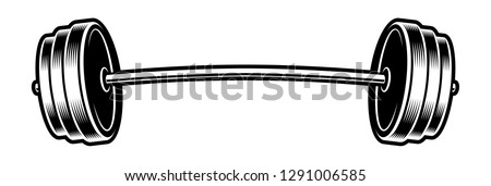 Black and white illustration of a barbell, isolated on the white background.