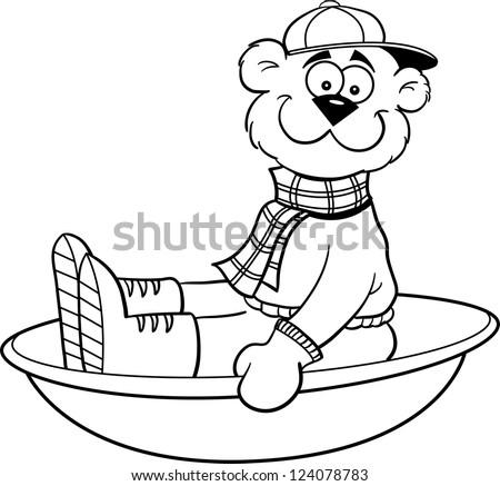 Black and white illustration of a bear sledding.