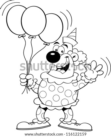 Black and white illustration of a clown holding balloons