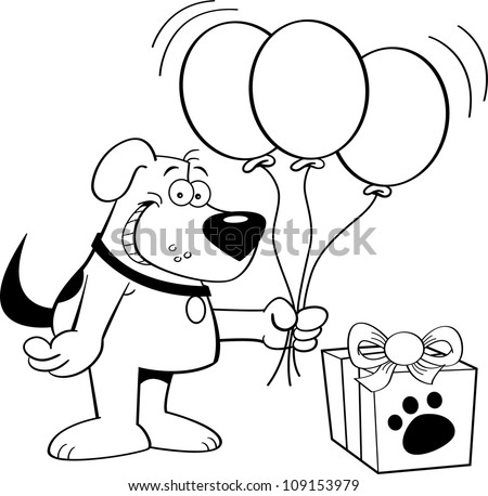 Black and white illustration of a dog holding balloons