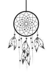 Black and white illustration of a Dreamcatcher. EPS10 vector format