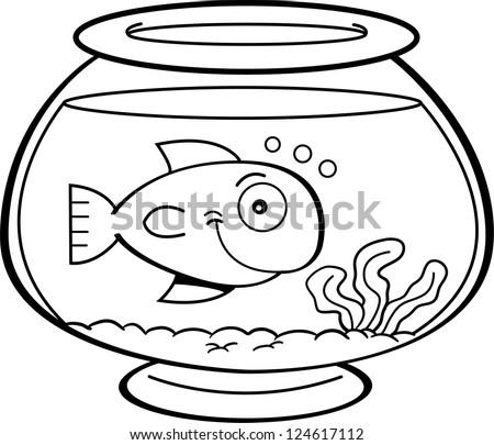Fish Tank Clip Art Black And White