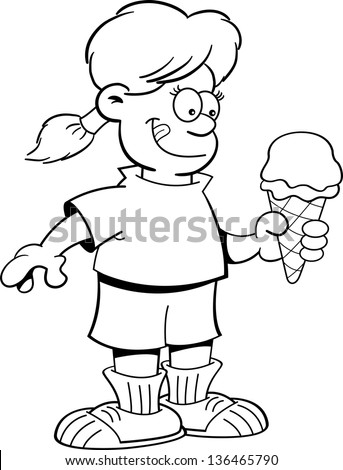 Black And White Illustration Of A Girl Eating An Ice Cream Cone