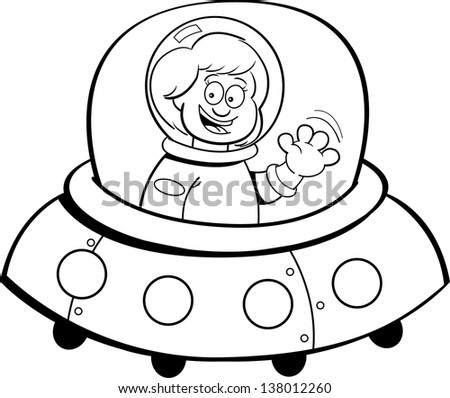 Black and white illustration of a girl in a spaceship.