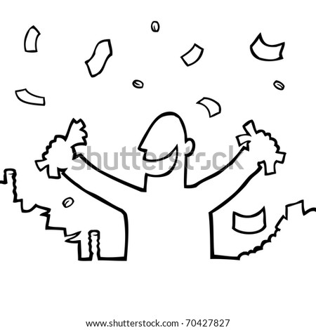 Black and white illustration of a happy person with money raining down on him.