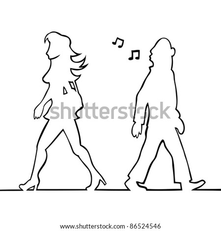 Black and white illustration of a man whistling at a woman.