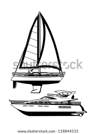 black and white illustration of a sailing vessel and motor yacht. - stock vector