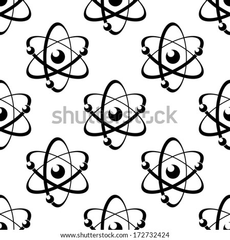 Black and white illustration of a seamless pattern with atoms, on white background