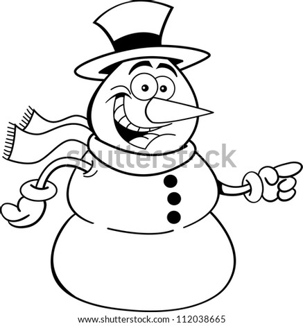 Black and white illustration of a snowman pointing