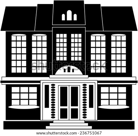 Black and white illustration of a two-storey house in classical style
