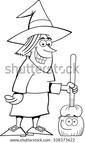 Black and white illustration of a witch holding a sign