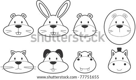 Black and white illustration of cartoon animals black outline