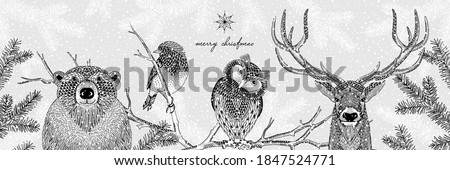 Black and white illustration of cute forest animals in winter - Hand drawn banner Photo stock ©