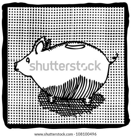 black and white illustration of pig on pattern background