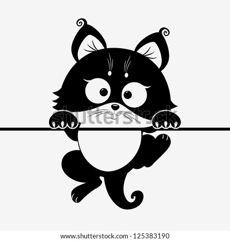 black and white illustration silhouette cute cat