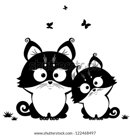 black and white illustration silhouette cute cats