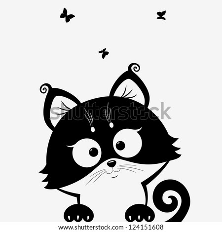 Stock Photo black and white illustration silhouette cute cats