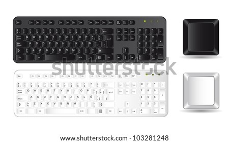 black and white keyboard and buttons over white background. vector