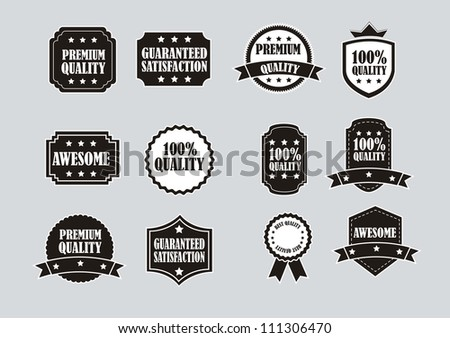 black and white labels over gray background. vector illustration