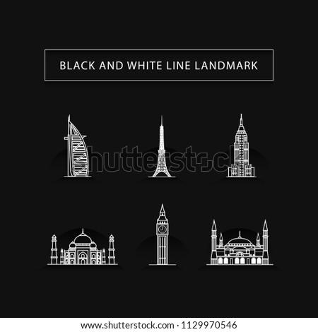 black and white landmark, line landmark