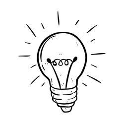 Black and white light bulb using doodle art on white background
