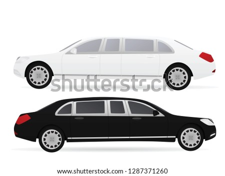 Black and white limo. vector illustration