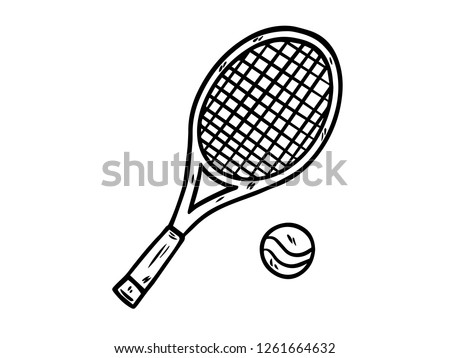 black and white line art, sketches of racquets and tennis balls Сток-фото ©