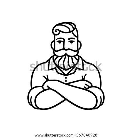 Black and white line drawing of bearded man with arms crossed. Stylish hipster logo illustration.