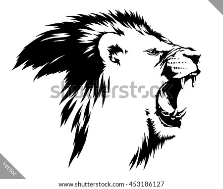 Black And White Linear Draw Lion Vector Illustration Ez Canvas