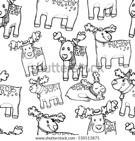 black and white linear light seamless pattern with Christmas reindeer in hats and scarves with ornaments drawn black outline of the hand. cute funny Christmas background with a herd of deer.