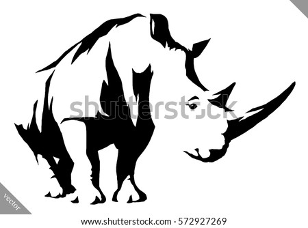 Rhino vector black and white linear paint draw rhino vector illustration ccuart Gallery