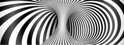 Black and white lines optical illusion horizontal background