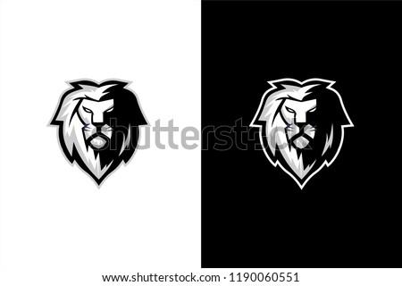 Black and white lion head vector, lion head esport gaming logo
