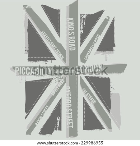 black and white london flag  t...