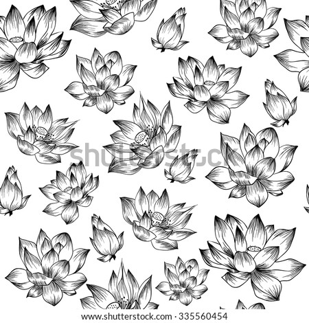 black and white lotus vector