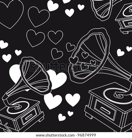 black and white love music, hearts. vector illustration