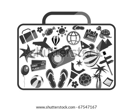 black and white luggage composed from different travel elements isolated on white background