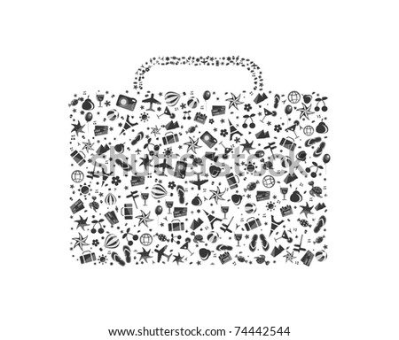black-and-white luggage composed from different travel elements isolated on white background