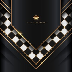 Black and white luxury board with gold elements