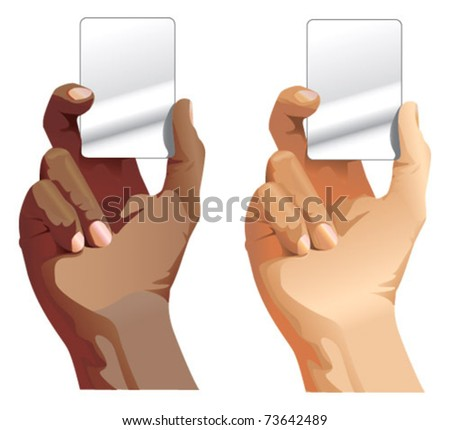 black and white male hands holding card