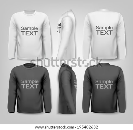 Black and white male long sleeved shirts with sample text. Design template. Vector.
