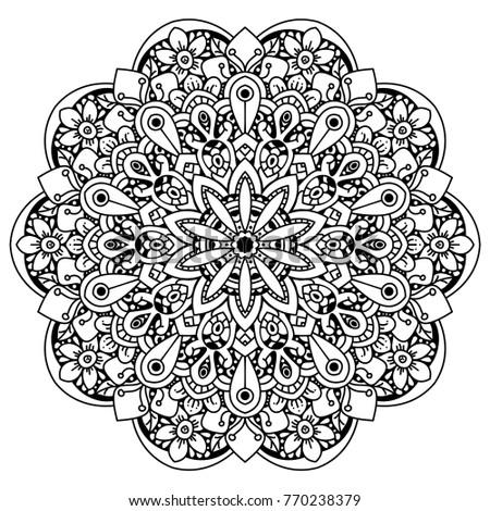 Black and white Mandala style decorative element. Vector illustration. Perfect for coloring pages.