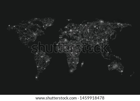 Black and white map of the world with glowing points.
