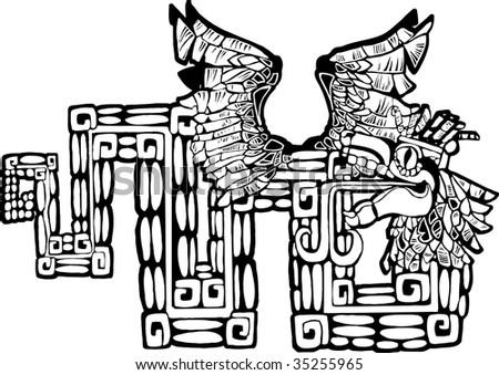 stock vector : Black and White Mayan Kukulcan Image possible tattoo.